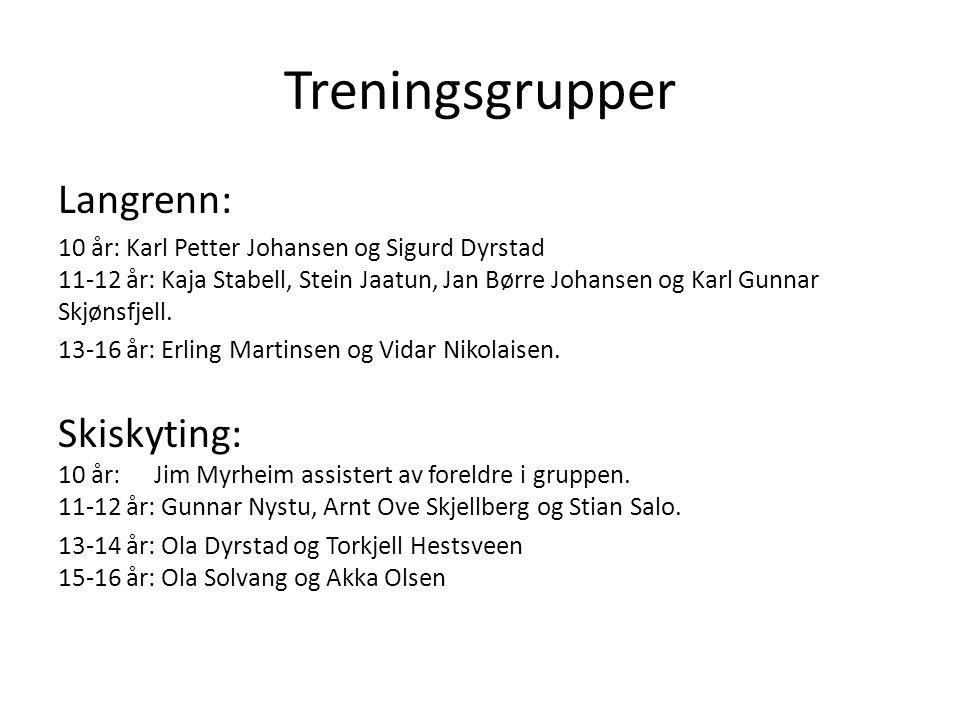 Treningsgrupper Langrenn: 10 år: Karl Petter Johansen og Sigurd Dyrstad 11-12 år: Kaja Stabell, Stein Jaatun, Jan Børre Johansen og Karl Gunnar Skjøns