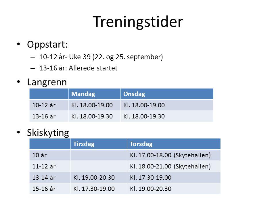 Treningstider Oppstart: – 10-12 år- Uke 39 (22. og 25. september) – 13-16 år: Allerede startet Langrenn Skiskyting MandagOnsdag 10-12 årKl. 18.00-19.0