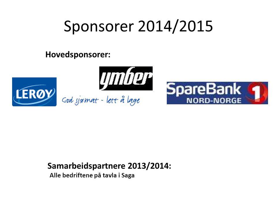 Sponsorer 2014/2015 Hovedsponsorer: Samarbeidspartnere 2013/2014: Alle bedriftene på tavla i Saga
