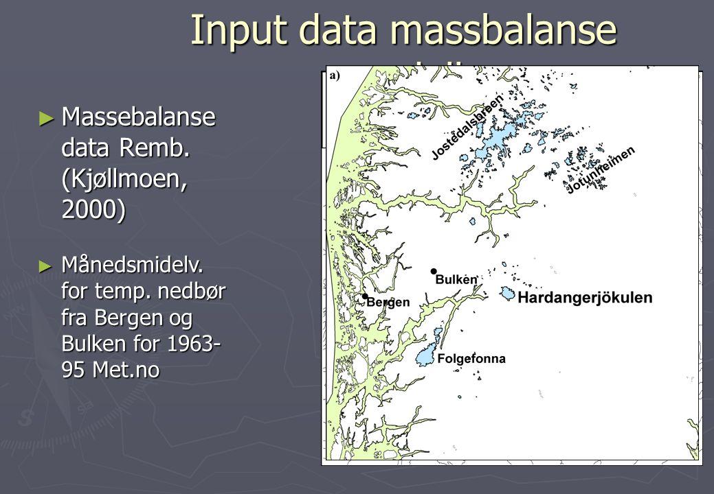 Input data massbalanse modell ► Massebalanse data Remb. (Kjøllmoen, 2000) ► Månedsmidelv. for temp. nedbør fra Bergen og Bulken for 1963- 95 Met.no