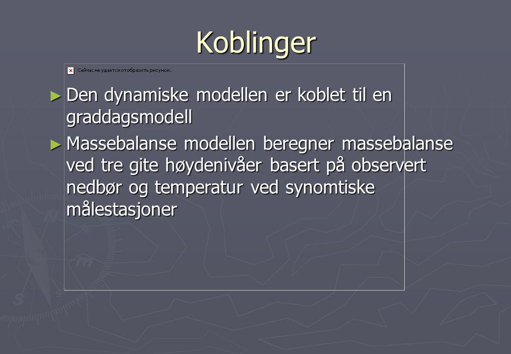 Koblinger ► Den dynamiske modellen er koblet til en graddagsmodell ► Massebalanse modellen beregner massebalanse ved tre gite høydenivåer basert på ob