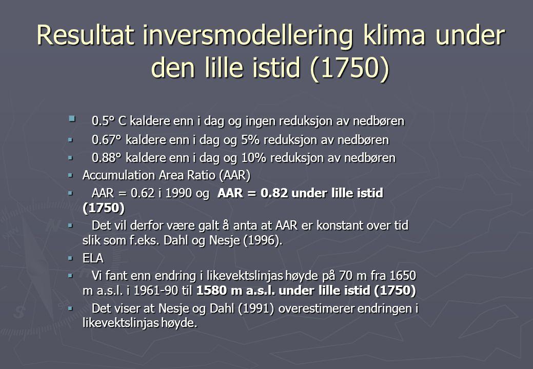 Resultat inversmodellering klima under den lille istid (1750)  0.5° C kaldere enn i dag og ingen reduksjon av nedbøren  0.67° kaldere enn i dag og 5