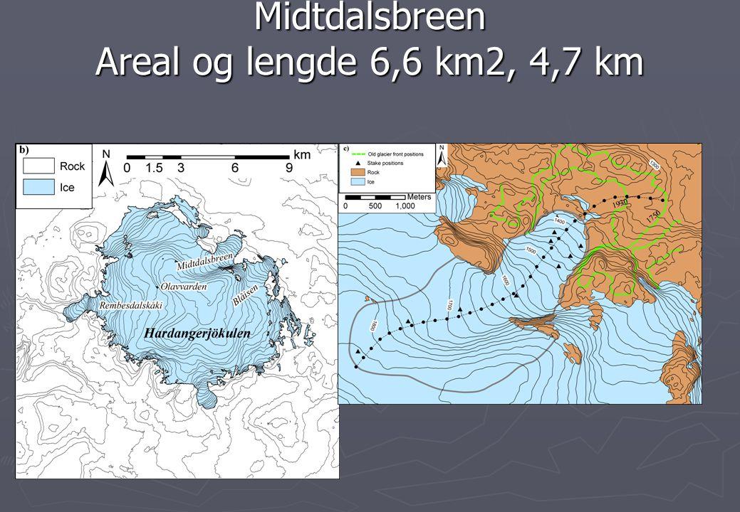 Midtdalsbreen Areal og lengde 6,6 km2, 4,7 km