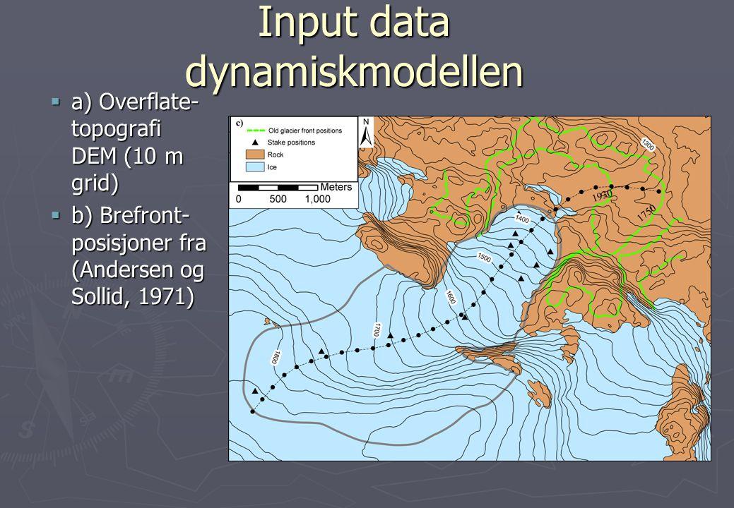 Input data dynamiskmodellen  a) Overflate- topografi DEM (10 m grid)  b) Brefront- posisjoner fra (Andersen og Sollid, 1971)