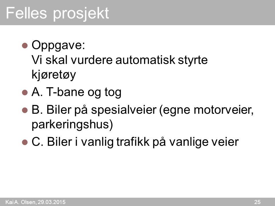 Kai A.Olsen, 29.03.2015 25 Felles prosjekt Oppgave: Vi skal vurdere automatisk styrte kjøretøy A.