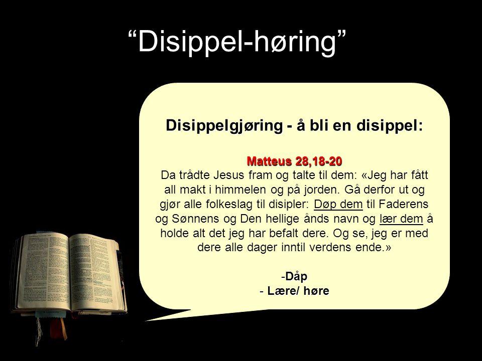 Disippel-høring Disippelgjøring - å bli en disippel: Matteus 28,18-20 Da trådte Jesus fram og talte til dem: «Jeg har fått all makt i himmelen og på jorden.