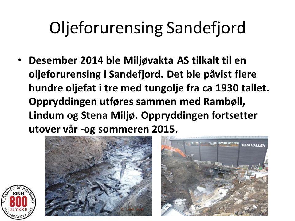 Oljeforurensing Sandefjord Desember 2014 ble Miljøvakta AS tilkalt til en oljeforurensing i Sandefjord. Det ble påvist flere hundre oljefat i tre med
