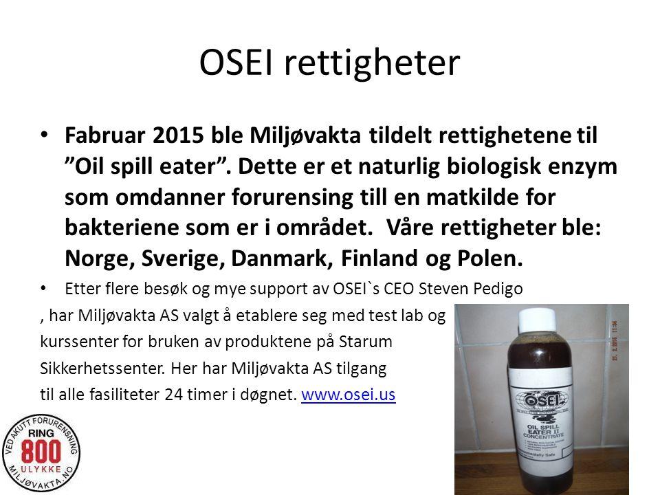 """OSEI rettigheter Fabruar 2015 ble Miljøvakta tildelt rettighetene til """"Oil spill eater"""". Dette er et naturlig biologisk enzym som omdanner forurensing"""