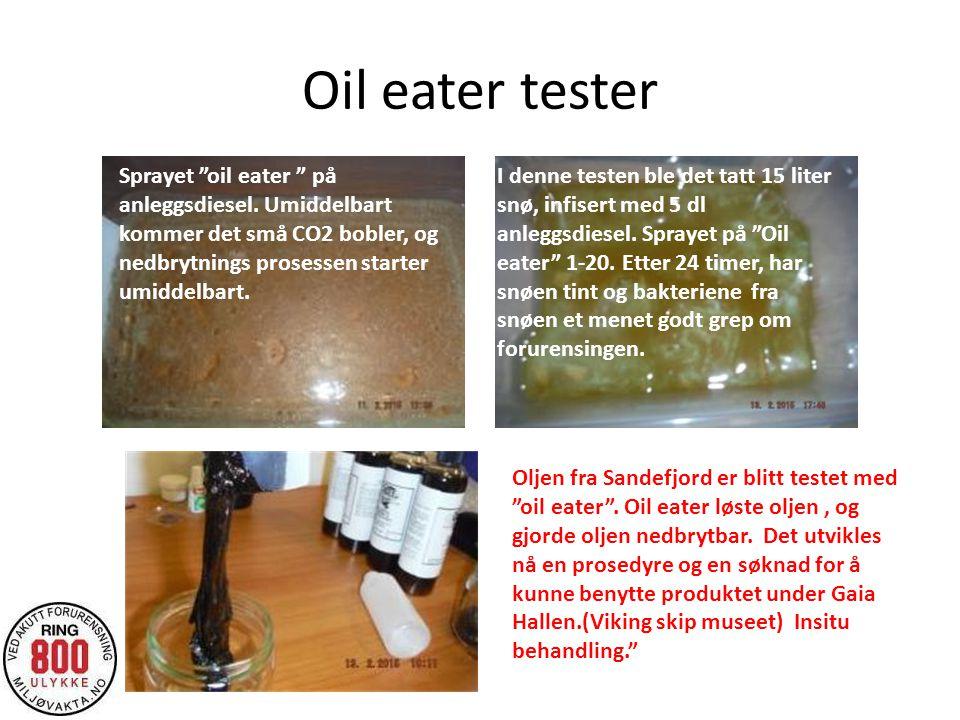 """Oil eater tester Sprayet """"oil eater """" på anleggsdiesel. Umiddelbart kommer det små CO2 bobler, og nedbrytnings prosessen starter umiddelbart. I denne"""