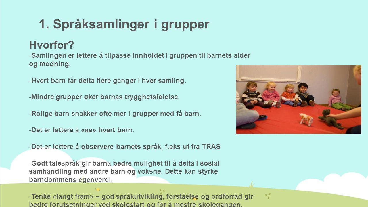 1. Språksamlinger i grupper Hvorfor? -Samlingen er lettere å tilpasse innholdet i gruppen til barnets alder og modning. -Hvert barn får delta flere ga