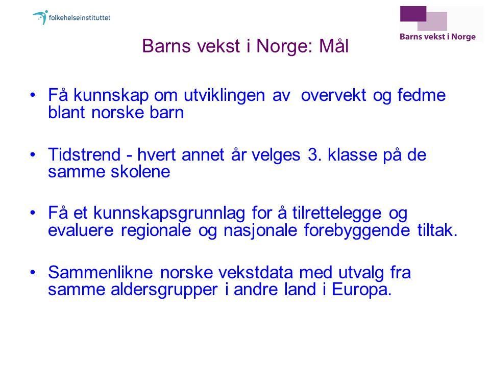 Barns vekst i Norge: Mål Få kunnskap om utviklingen av overvekt og fedme blant norske barn Tidstrend - hvert annet år velges 3.
