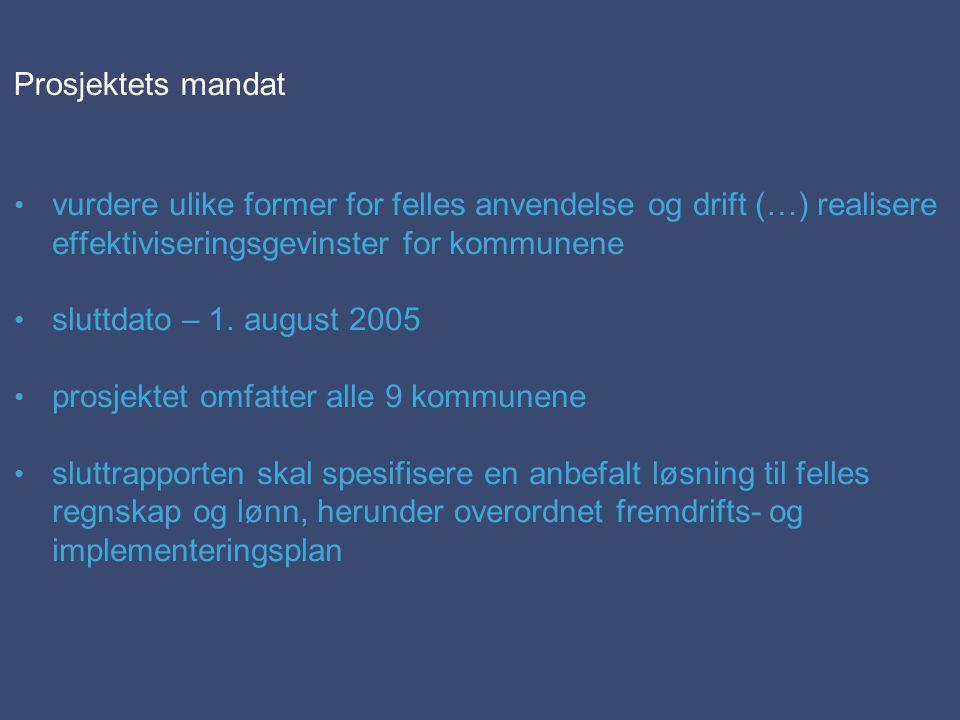 Prosjektets mandat vurdere ulike former for felles anvendelse og drift (…) realisere effektiviseringsgevinster for kommunene sluttdato – 1. august 200