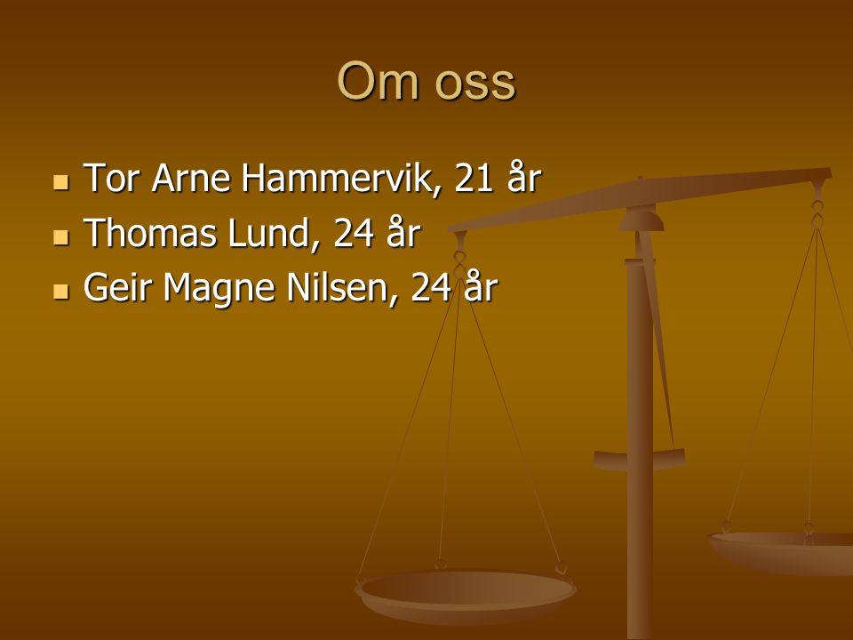 Om oss Tor Arne Hammervik, 21 år Tor Arne Hammervik, 21 år Thomas Lund, 24 år Thomas Lund, 24 år Geir Magne Nilsen, 24 år Geir Magne Nilsen, 24 år