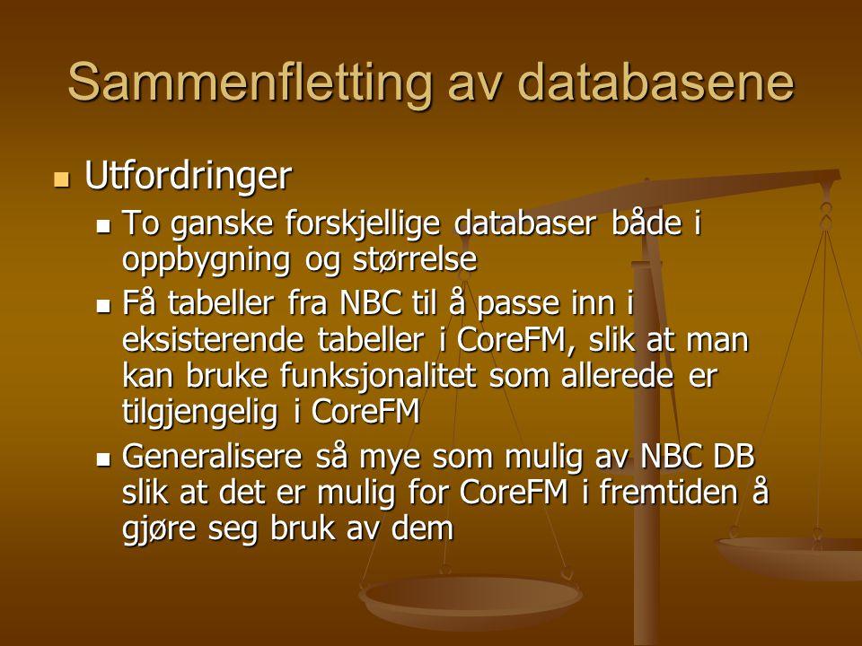 Sammenfletting av databasene Utfordringer Utfordringer To ganske forskjellige databaser både i oppbygning og størrelse To ganske forskjellige databaser både i oppbygning og størrelse Få tabeller fra NBC til å passe inn i eksisterende tabeller i CoreFM, slik at man kan bruke funksjonalitet som allerede er tilgjengelig i CoreFM Få tabeller fra NBC til å passe inn i eksisterende tabeller i CoreFM, slik at man kan bruke funksjonalitet som allerede er tilgjengelig i CoreFM Generalisere så mye som mulig av NBC DB slik at det er mulig for CoreFM i fremtiden å gjøre seg bruk av dem Generalisere så mye som mulig av NBC DB slik at det er mulig for CoreFM i fremtiden å gjøre seg bruk av dem