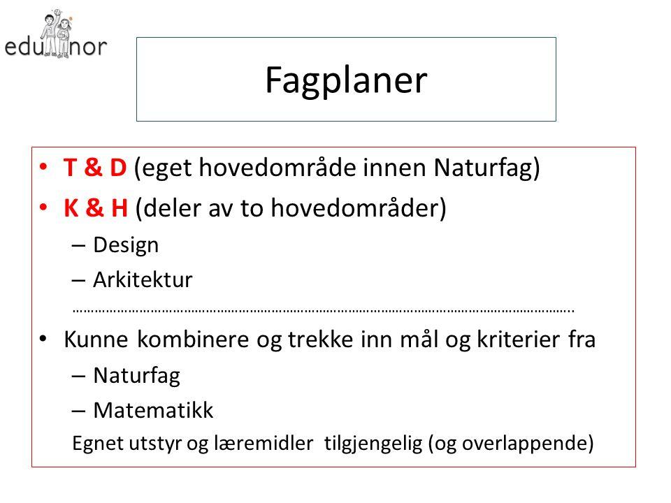 Fagplaner T & D (eget hovedområde innen Naturfag) K & H (deler av to hovedområder) – Design – Arkitektur ………………………………………………………………………………………………………………………