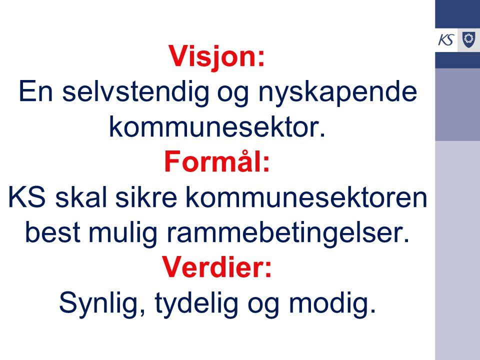 Visjon: En selvstendig og nyskapende kommunesektor. Formål: KS skal sikre kommunesektoren best mulig rammebetingelser. Verdier: Synlig, tydelig og mod