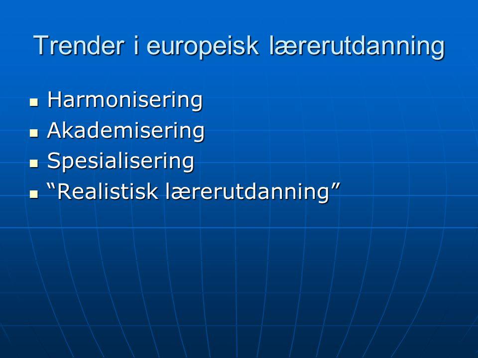 Harmonisering Ulike lærerutdanningssystem i ulike land Ulike lærerutdanningssystem i ulike land Norge: Norge: Integrert lærerutdanning ved høgskoleneIntegrert lærerutdanning ved høgskolene Faglærerutdanning som påbygningsmodell ved universiteteneFaglærerutdanning som påbygningsmodell ved universitetene Fra 2003: 5-årig integrert lærerutdanning ved universitetene; mer spesialisering i forhold til fag ved høgskoleneFra 2003: 5-årig integrert lærerutdanning ved universitetene; mer spesialisering i forhold til fag ved høgskolene