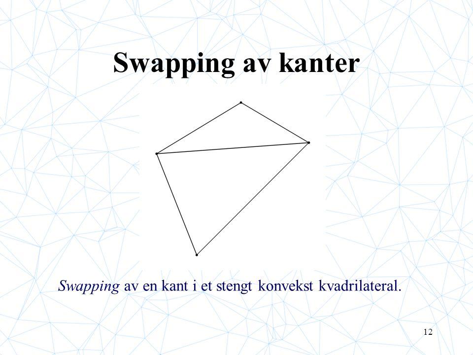 12 Swapping av kanter Swapping av en kant i et stengt konvekst kvadrilateral.