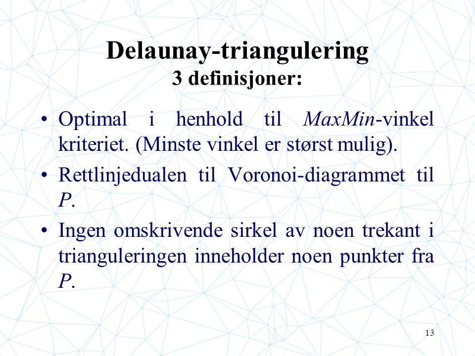 13 Delaunay-triangulering 3 definisjoner: Optimal i henhold til MaxMin-vinkel kriteriet. (Minste vinkel er størst mulig). Rettlinjedualen til Voronoi-