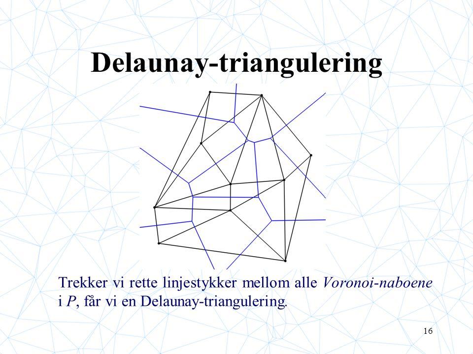 16 Delaunay-triangulering Trekker vi rette linjestykker mellom alle Voronoi-naboene i P, får vi en Delaunay-triangulering.
