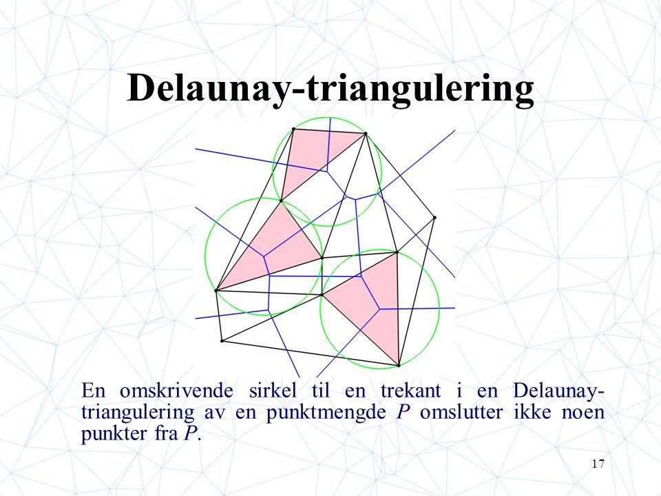 17 Delaunay-triangulering En omskrivende sirkel til en trekant i en Delaunay- triangulering av en punktmengde P omslutter ikke noen punkter fra P.