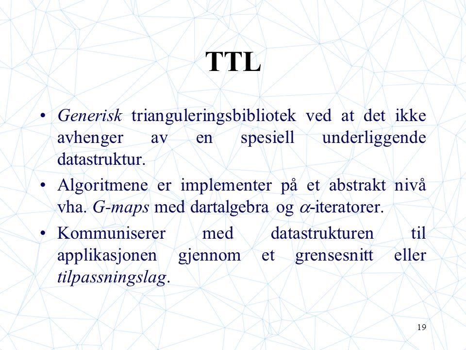 19 TTL Generisk trianguleringsbibliotek ved at det ikke avhenger av en spesiell underliggende datastruktur. Algoritmene er implementer på et abstrakt