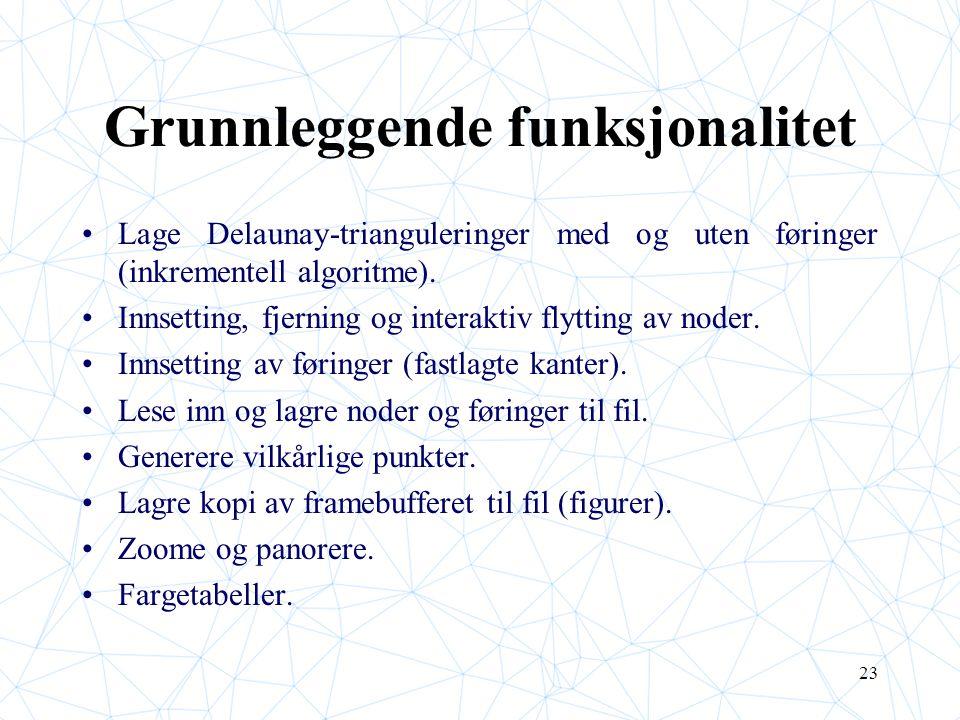 23 Grunnleggende funksjonalitet Lage Delaunay-trianguleringer med og uten føringer (inkrementell algoritme). Innsetting, fjerning og interaktiv flytti
