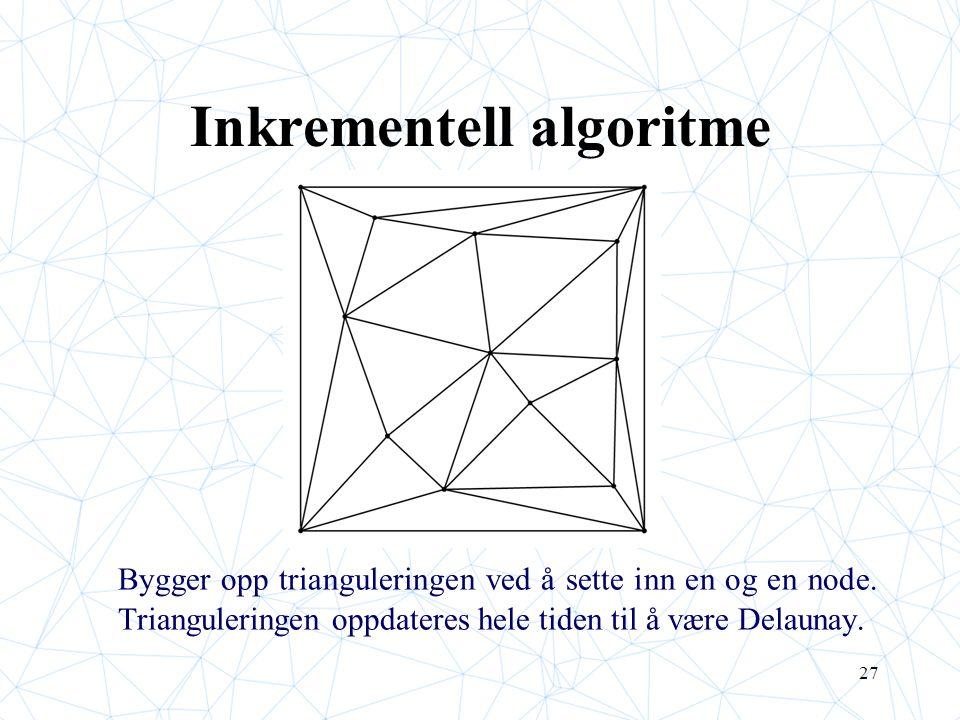27 Inkrementell algoritme Bygger opp trianguleringen ved å sette inn en og en node. Trianguleringen oppdateres hele tiden til å være Delaunay.
