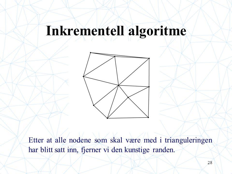 28 Inkrementell algoritme Etter at alle nodene som skal være med i trianguleringen har blitt satt inn, fjerner vi den kunstige randen.