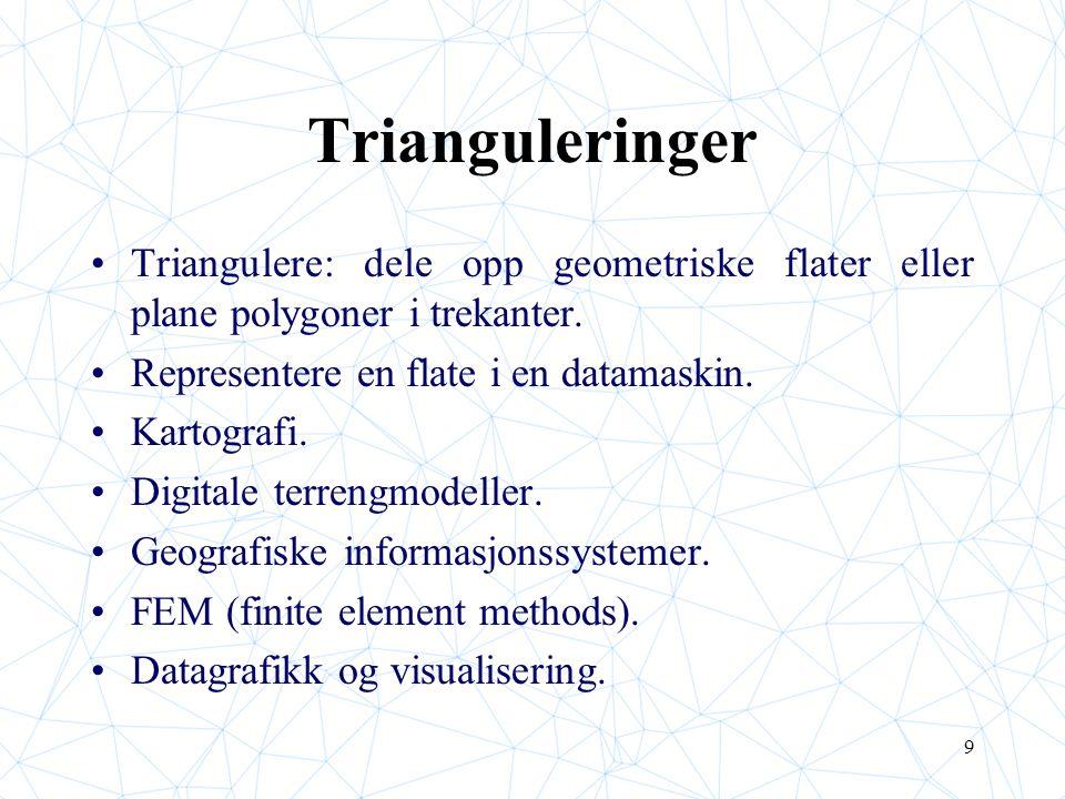 9 Trianguleringer Triangulere: dele opp geometriske flater eller plane polygoner i trekanter. Representere en flate i en datamaskin. Kartografi. Digit