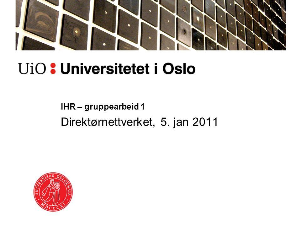 IHR – gruppearbeid 1 Direktørnettverket, 5. jan 2011