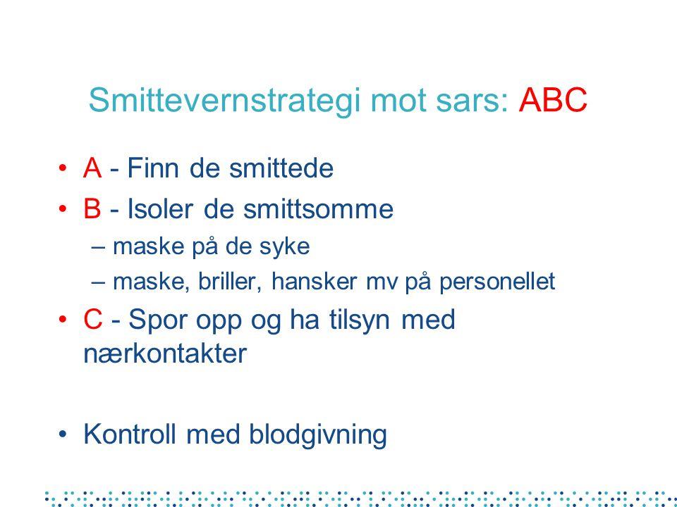 Smittevernstrategi mot sars: ABC A - Finn de smittede B - Isoler de smittsomme –maske på de syke –maske, briller, hansker mv på personellet C - Spor opp og ha tilsyn med nærkontakter Kontroll med blodgivning