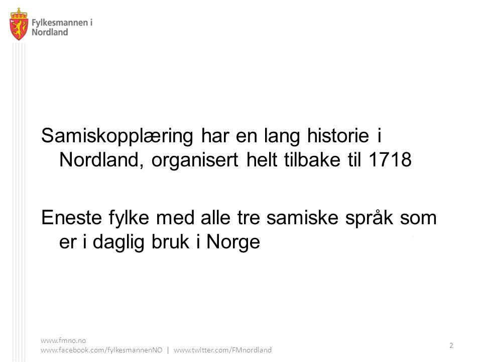 Samiskopplæring har en lang historie i Nordland, organisert helt tilbake til 1718 Eneste fylke med alle tre samiske språk som er i daglig bruk i Norge www.fmno.no www.facebook.com/fylkesmannenNO | www.twitter.com/FMnordland 2