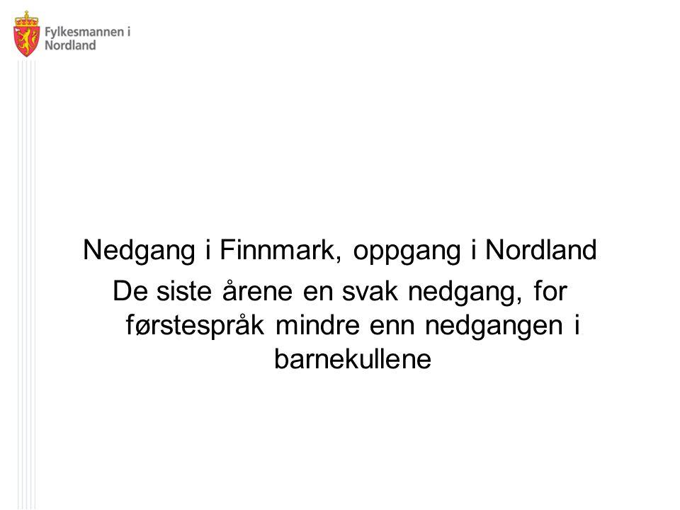 Nedgang i Finnmark, oppgang i Nordland De siste årene en svak nedgang, for førstespråk mindre enn nedgangen i barnekullene