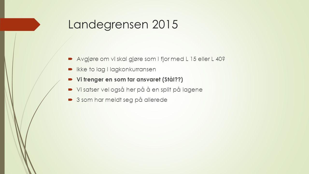 Landegrensen 2015  Avgjøre om vi skal gjøre som I fjor med L 15 eller L 40.