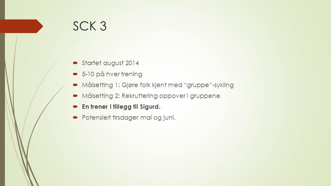 SCK 3  Startet august 2014  5-10 på hver trening  Målsetting 1: Gjøre folk kjent med gruppe -sykling  Målsetting 2: Rekruttering oppover I gruppene  En trener i tillegg til Sigurd.