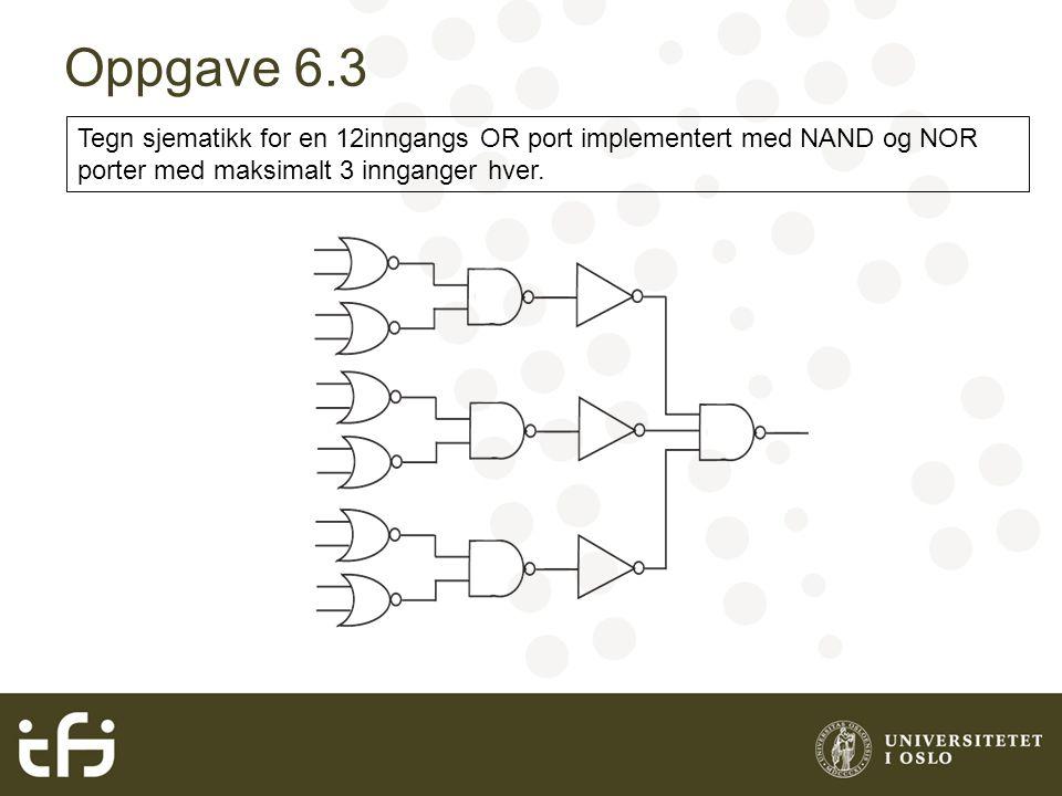 Oppgave 6.3 Tegn sjematikk for en 12inngangs OR port implementert med NAND og NOR porter med maksimalt 3 innganger hver.
