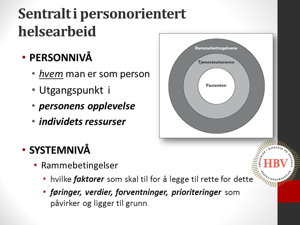 Sentralt i personorientert helsearbeid PERSONNIVÅ hvem man er som person Utgangspunkt i personens opplevelse individets ressurser SYSTEMNIVÅ Rammebeti