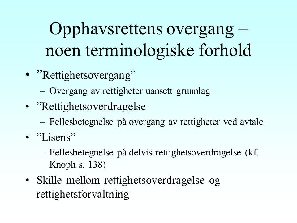 Forelesninger i Opphavsrett Disp. punkt 13, 14, 19 og 20 Professor dr. juris Ole-Andreas Rognstad