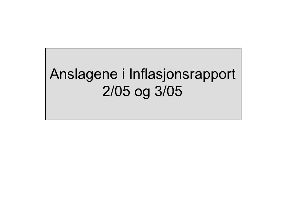 Anslagene i Inflasjonsrapport 2/05 og 3/05