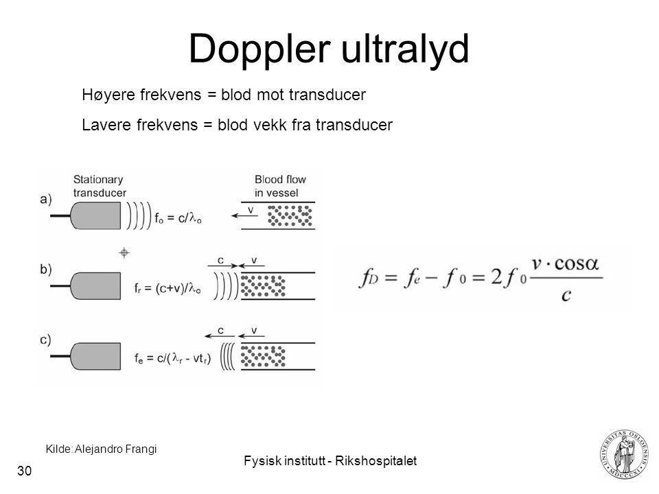 Fysisk institutt - Rikshospitalet 30 Doppler ultralyd Kilde: Alejandro Frangi Høyere frekvens = blod mot transducer Lavere frekvens = blod vekk fra transducer