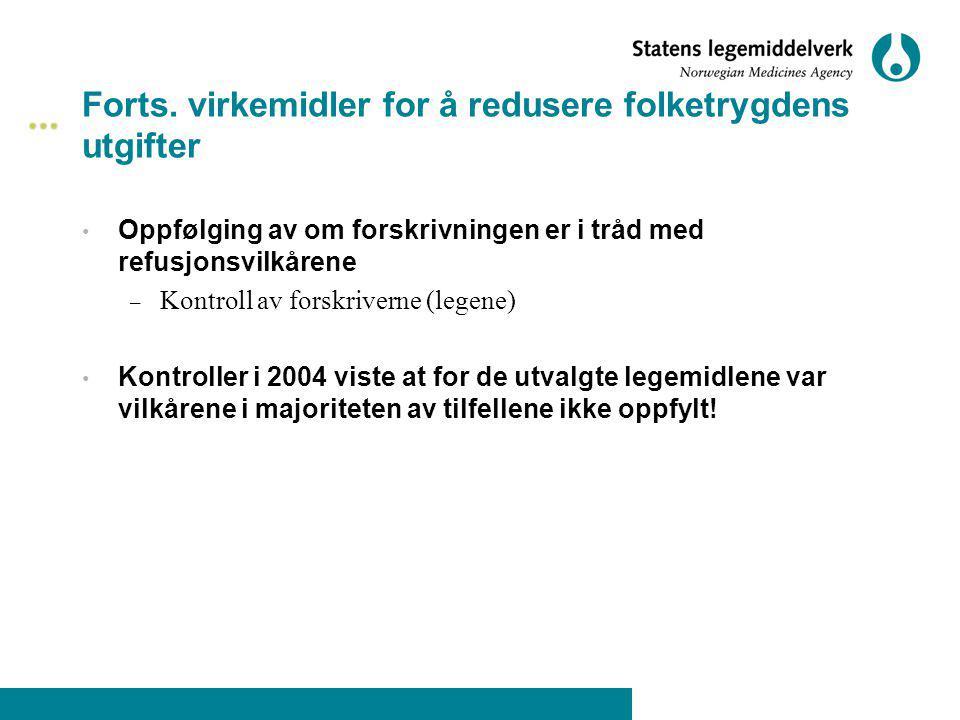 Forts. virkemidler for å redusere folketrygdens utgifter Oppfølging av om forskrivningen er i tråd med refusjonsvilkårene – Kontroll av forskriverne (