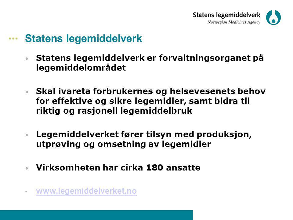 Statens legemiddelverk Statens legemiddelverk er forvaltningsorganet på legemiddelområdet Skal ivareta forbrukernes og helsevesenets behov for effekti