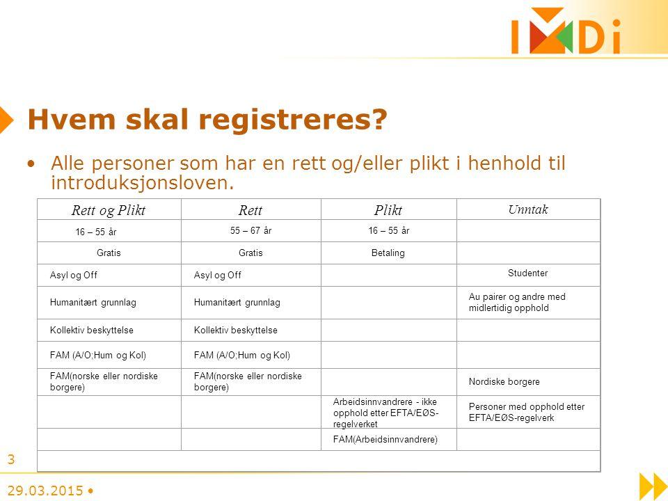 Hvem skal registreres? Alle personer som har en rett og/eller plikt i henhold til introduksjonsloven. 29.03.2015 3 Rett og PliktRettPlikt Unntak 16 –