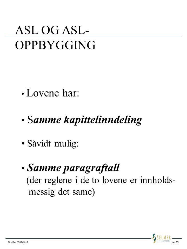 Side 10 DocRef 355143-v1 ASL OG ASL- OPPBYGGING Lovene har: Samme kapittelinndeling Såvidt mulig: Samme paragraftall (der reglene i de to lovene er innholds- messig det same)