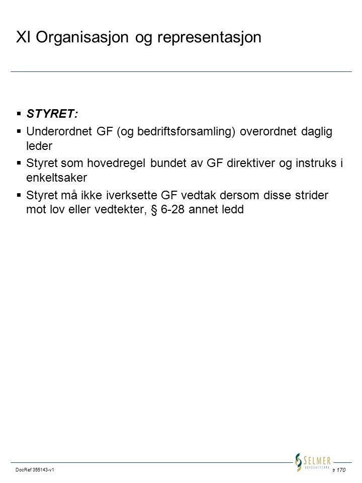 Side 170 DocRef 355143-v1 XI Organisasjon og representasjon  STYRET:  Underordnet GF (og bedriftsforsamling) overordnet daglig leder  Styret som hovedregel bundet av GF direktiver og instruks i enkeltsaker  Styret må ikke iverksette GF vedtak dersom disse strider mot lov eller vedtekter, § 6-28 annet ledd