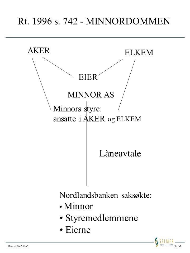 Side 51 DocRef 355143-v1 Rt. 1996 s. 742 - MINNORDOMMEN AKER ELKEM EIER MINNOR AS Minnors styre: ansatte i AKER og ELKEM Låneavtale Nordlandsbanken sa