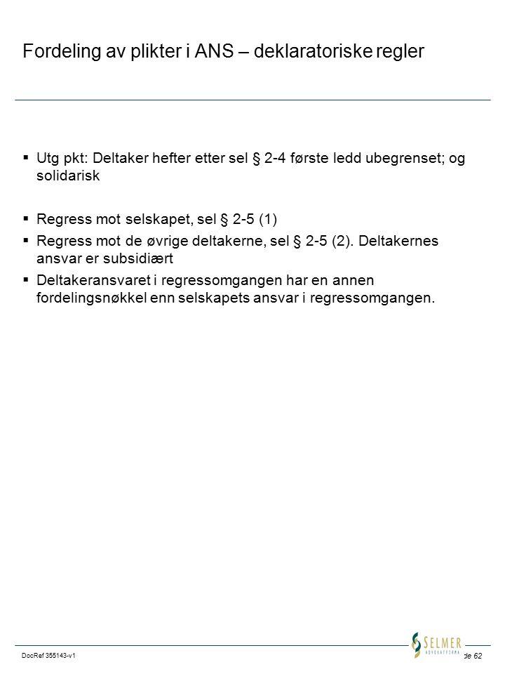 Side 62 DocRef 355143-v1 Fordeling av plikter i ANS – deklaratoriske regler  Utg pkt: Deltaker hefter etter sel § 2-4 første ledd ubegrenset; og solidarisk  Regress mot selskapet, sel § 2-5 (1)  Regress mot de øvrige deltakerne, sel § 2-5 (2).