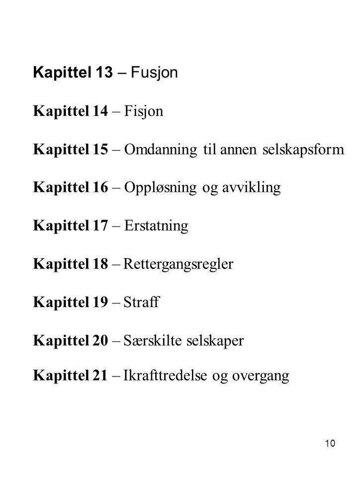 10 Kapittel 13 – Fusjon Kapittel 14 – Fisjon Kapittel 15 – Omdanning til annen selskapsform Kapittel 16 – Oppløsning og avvikling Kapittel 17 – Erstat