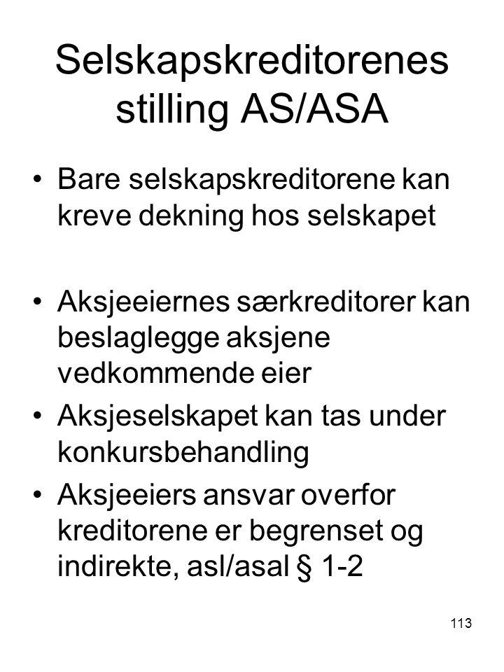 113 Selskapskreditorenes stilling AS/ASA Bare selskapskreditorene kan kreve dekning hos selskapet Aksjeeiernes særkreditorer kan beslaglegge aksjene v
